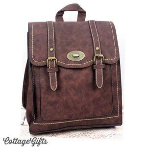 🆕 DAKOTA Vegan Leather Brown Satchel Backpack